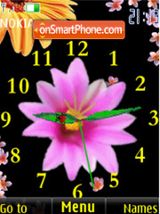 SWF flowers clock animated theme screenshot
