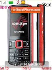 Nokia 5320 Xpress Music SWF Clock theme screenshot