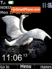 SWF swan clock animated theme screenshot