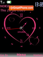 Pink Heart Clock theme screenshot