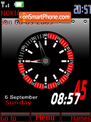 Скриншот темы Red N Black Clock