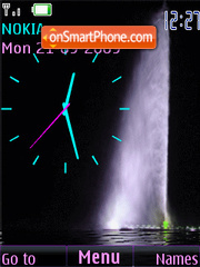 Swf fountain animated analog clock theme screenshot