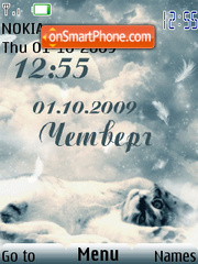 Cat moon clock swf tema screenshot