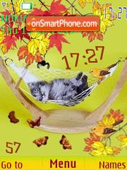 Swf autumn cat animated tema screenshot