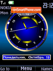 Clock analog blue animatad theme screenshot