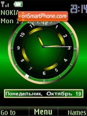 Скриншот темы Clock analog green animatad