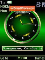 Clock analog green animatad theme screenshot