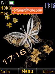 Gold butterfly clock, animation theme screenshot