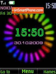 Coloured clock, animation theme screenshot