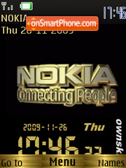 Nokia gold SWF Clock theme screenshot