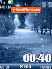 Winter night, clock, anim 12 pictures theme screenshot
