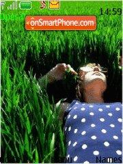 Girl in Grass theme screenshot