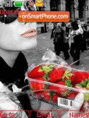 Girl with Strawberries theme screenshot