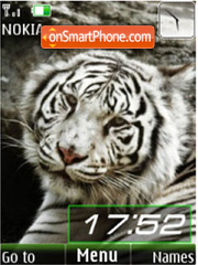 White tigers, slide, clock theme screenshot