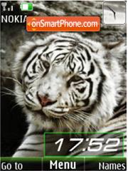 White tigers, slide, clock es el tema de pantalla