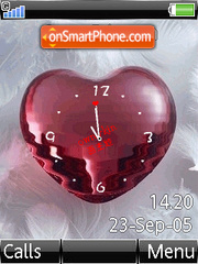 Swf Red Love Clock tema screenshot