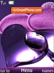 Purple hearts clock tema screenshot