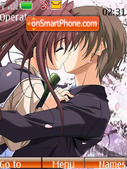 Anime Kissing Swf Clock theme screenshot