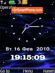 Clock blue animated theme screenshot