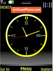 Yellow analog clock theme screenshot