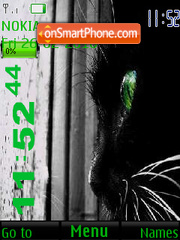 Скриншот темы Cat with Green eyes SWF Clock