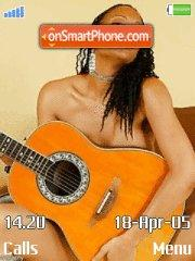 Ebony girl with orange guitar es el tema de pantalla