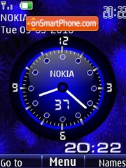Analog clock blue animated theme screenshot
