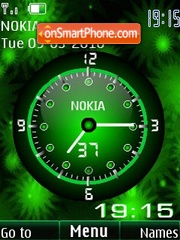 Analog clock green animated theme screenshot