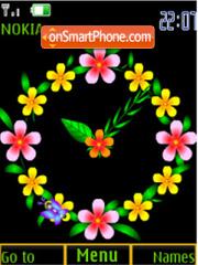 Скриншот темы Flower ani analog clock
