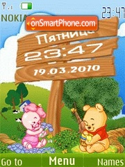 Pooh clock animated theme screenshot