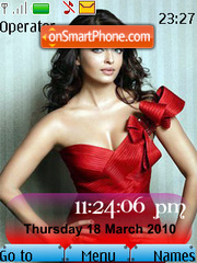 Aishwarya Rai Red SWF Clock theme screenshot