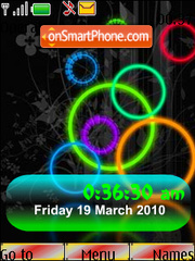 Neon Rings SWF Clock theme screenshot