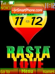 Rasta Love Clock tema screenshot