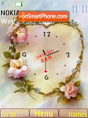 Flower Heart Clock tema screenshot