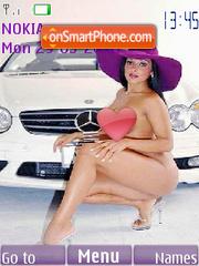 Brunette girl with white Mercedes theme screenshot
