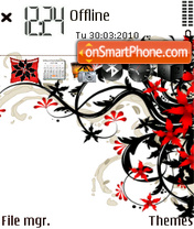 Floral Black and Red theme screenshot