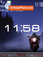 Скриншот темы Bike in Night SWF Clock