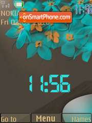 Blue Flowers SWF Clock theme screenshot