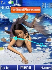 Mermaid clock animated es el tema de pantalla