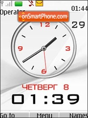 White analog clock theme screenshot