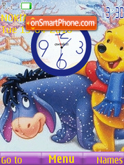 Pooh And Eeyore Clock theme screenshot