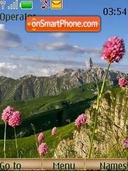 Скриншот темы Mountains flowers