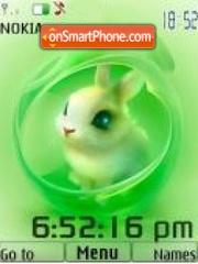 Conejo verde swf clock theme screenshot