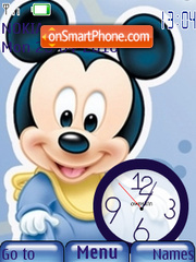 Baby Mickey Clock theme screenshot