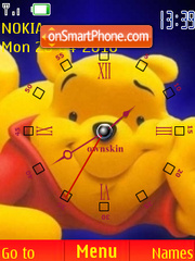 Pooh Face Clock theme screenshot