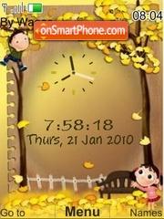 Animated cute gold clock theme screenshot