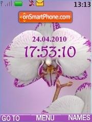 Скриншот темы Purple Flower Clock