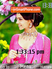 Deepika Pink SWF Clock theme screenshot
