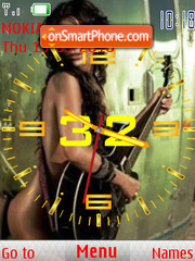 Pretty Guitars & Girls SWF Clock theme screenshot