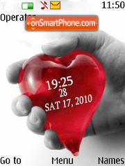 Hand heart clock theme screenshot